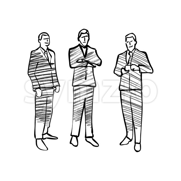 Group of business people drawing. Hand drawn vector illustration.