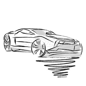 Modern sports car drawing study Stock Vector