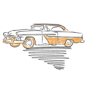 Old american car drawing Stock Vector