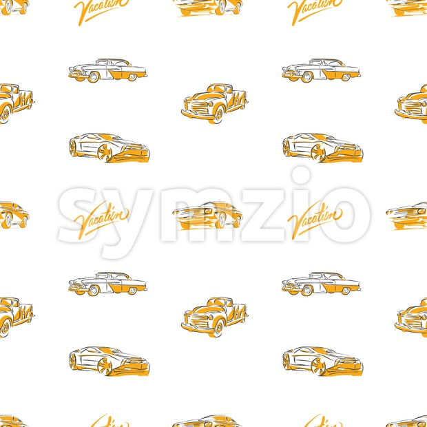 Old cars seamless pattern Stock Vector