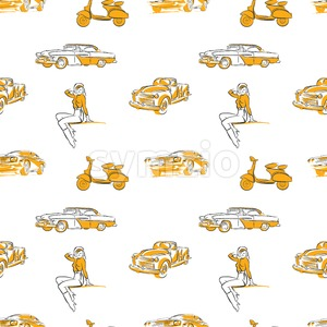 Old transportation signs seamless pattern Stock Vector