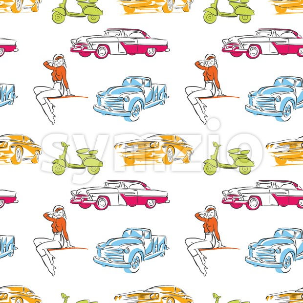 Vintage cars seamless pattern Stock Vector