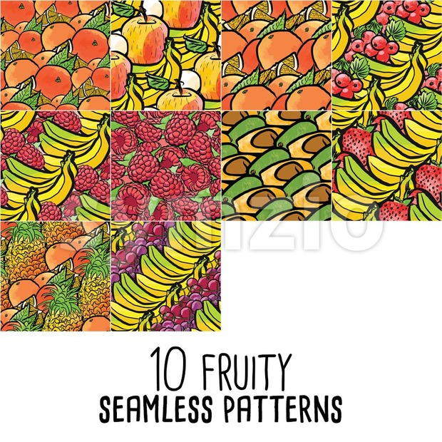 10 seamless patterns of fresh fruits. All templates are drawn and colored by hand.