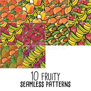 10 seamless patterns of fresh fruits Stock Vector
