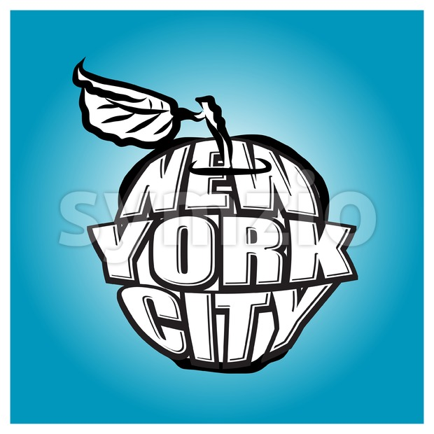New York City Big Apple Logo Stock Vector