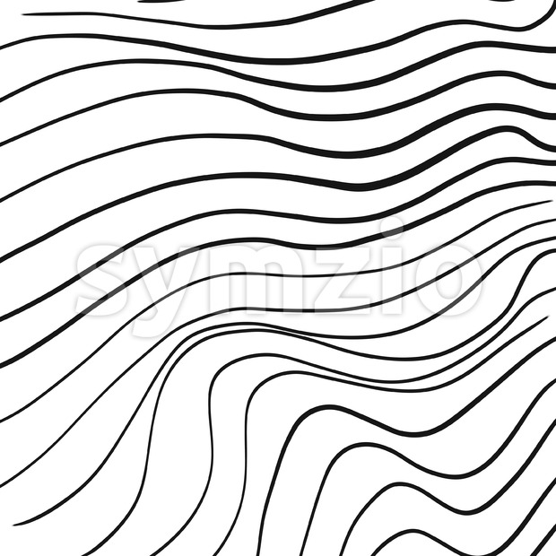 Hand-drawn line art wavy pattern, vector illustration