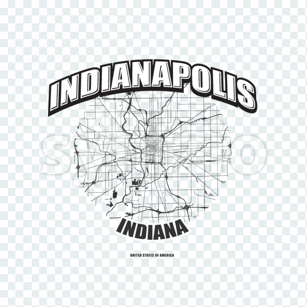 Indianapolis monochrome logo design.  Vintage lettering with abstract map background, Two-color-version for every possible print production.