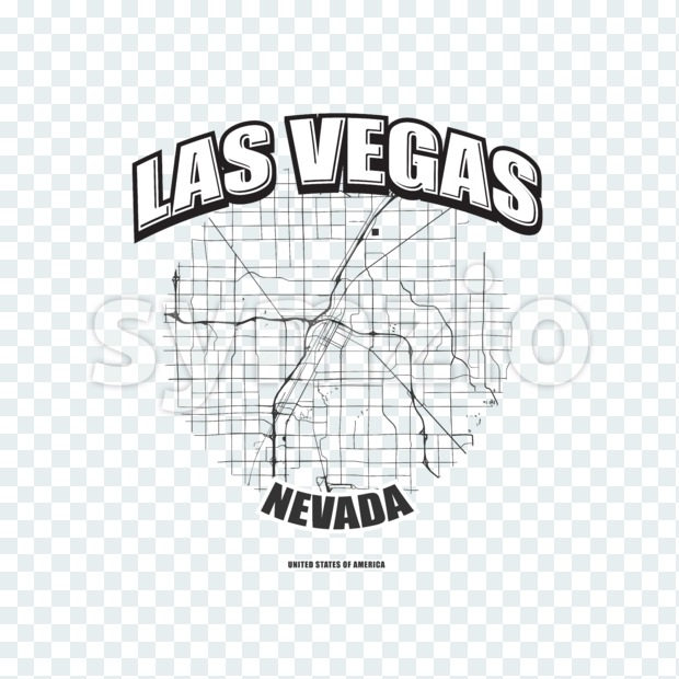 Las Vegas monochrome logo design.  Vintage lettering with abstract map background, Two-color-version for every possible print production.