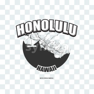 Honolulu, Hawaii, logo artwork Stock Photo