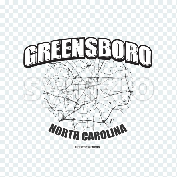 Greensboro monochrome logo design.  Vintage lettering with abstract map background, Two-color-version for every possible print production.