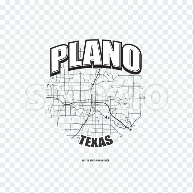 Plano monochrome logo design.  Vintage lettering with abstract map background, Two-color-version for every possible print production.