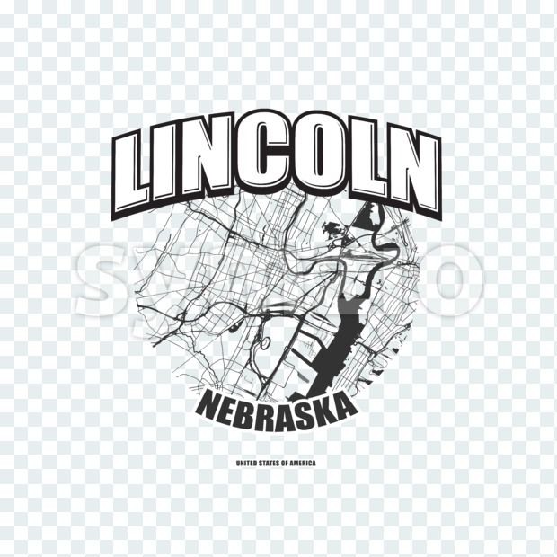 Lincoln monochrome logo design.  Vintage lettering with abstract map background, Two-color-version for every possible print production.