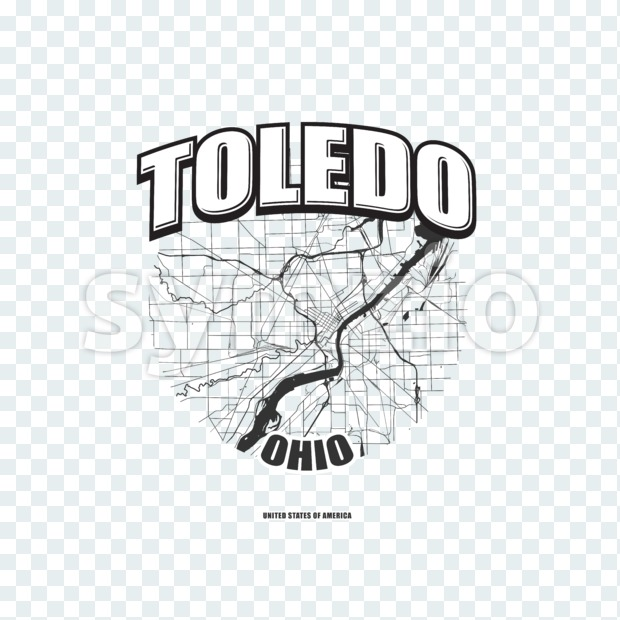Toledo monochrome logo design.  Vintage lettering with abstract map background, Two-color-version for every possible print production.