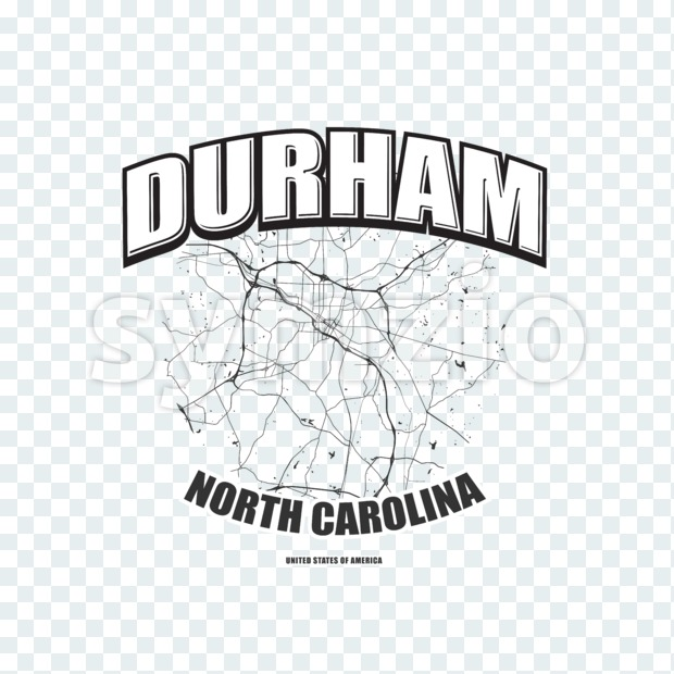 Durham monochrome logo design.  Vintage lettering with abstract map background, Two-color-version for every possible print production.