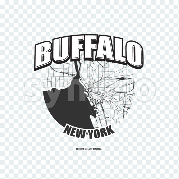 Buffalo monochrome logo design.  Vintage lettering with abstract map background, Two-color-version for every possible print production.