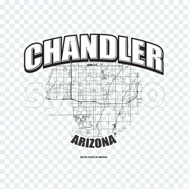 Chandler monochrome logo design.  Vintage lettering with abstract map background, Two-color-version for every possible print production.