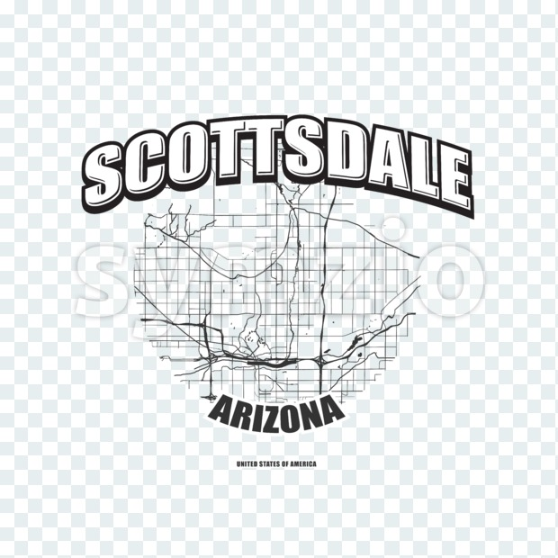 Scottsdale monochrome logo design.  Vintage lettering with abstract map background, Two-color-version for every possible print production.