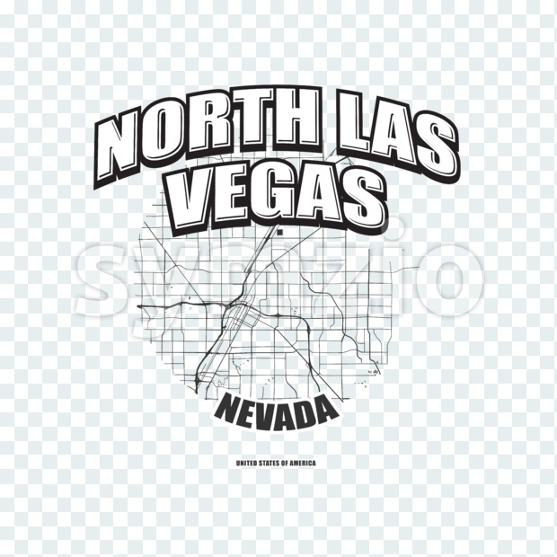 North Las Vegas monochrome logo design.  Vintage lettering with abstract map background, Two-color-version for every possible print production.