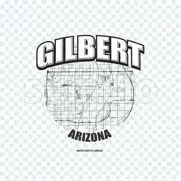 Gilbert monochrome logo design.  Vintage lettering with abstract map background, Two-color-version for every possible print production.