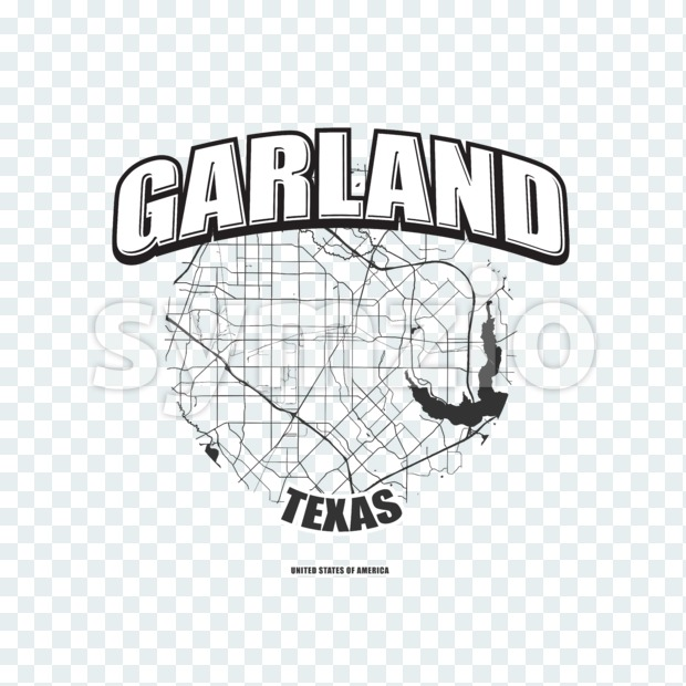 Garland monochrome logo design.  Vintage lettering with abstract map background, Two-color-version for every possible print production.