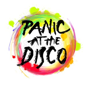 Panic at the disco. lettering on colorful backgound Stock Vector