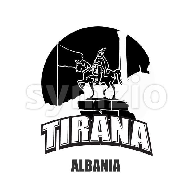 Tirana, Albania black and white logo Stock Vector