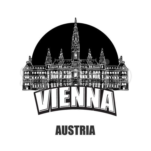 Vienna, Austria, black and white logo for high quality prints. Hand drawn vector sketch.