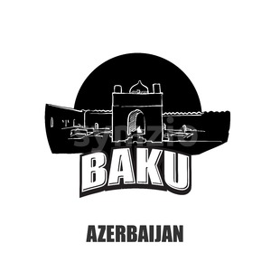Baku, Azerbaijan, black and white logo Stock Vector