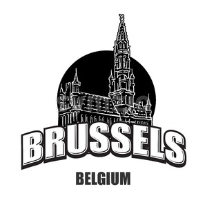 Brussels, Belgium, black and white logo Stock Vector