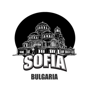 Sofia, Bulgaria, black and white logo Stock Vector