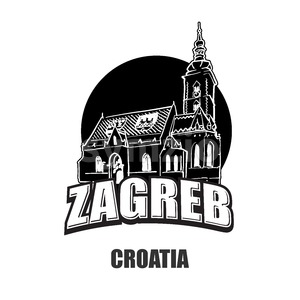 Zagreb, Croatia, black and white logo Stock Vector