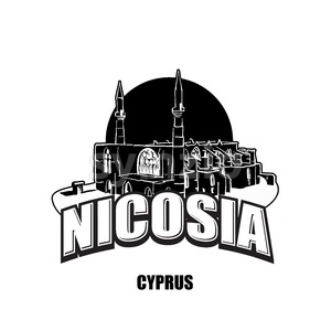 Nicosia, Cyprus, black and white logo Stock Vector