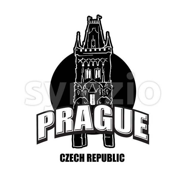 Prague, Czech Republic, black and white logo Stock Vector