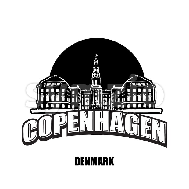 Copenhagen, Denmark, black and white logo Stock Vector