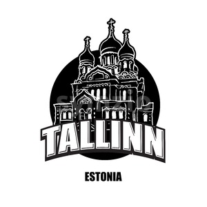 Tallin, Estonia, black and white logo Stock Vector