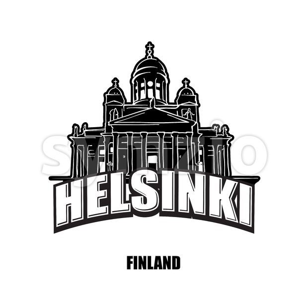 Helsinki, Finland, black and white logo Stock Vector