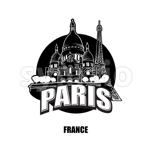 Paris, France, black and white logo Stock Vector