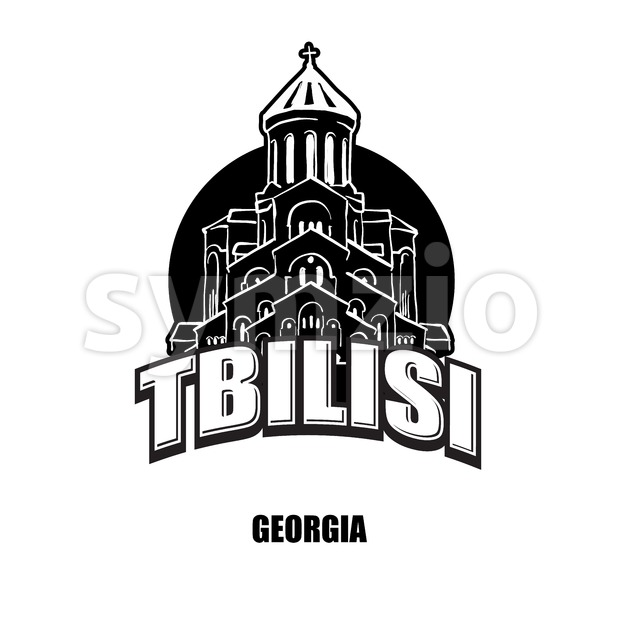 Tbilisi, Geogia, black and white logo Stock Vector
