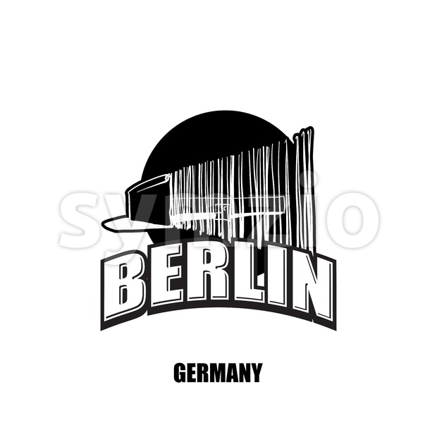 Berlin, wall, black and white logo Stock Vector