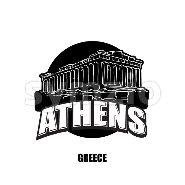 Athens, temple, black and white logo Stock Vector