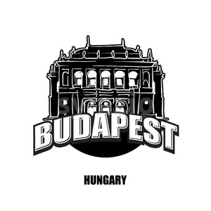 Budapest, Opera, black and white logo Stock Vector