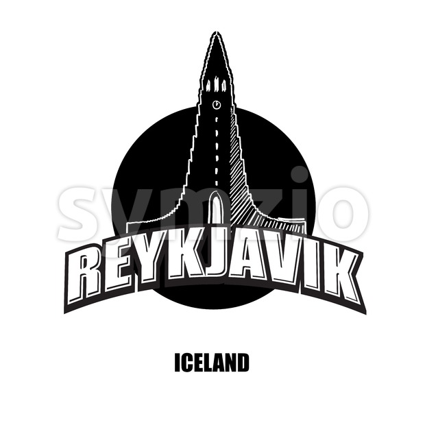 Reykjavik, church, black and white logo Stock Vector