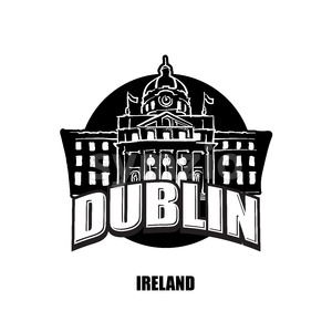 Dublin, Ireland, black and white logo Stock Vector