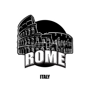 Rome, Italy, black and white logo Stock Vector