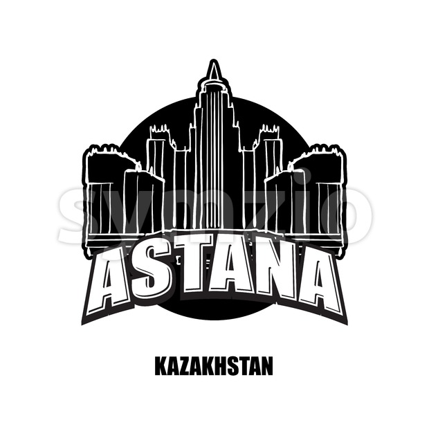 Astana, Kazakhstan, black and white logo Stock Vector