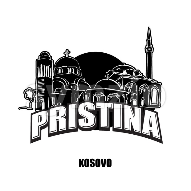 Prstina, Kosovo, black and white logo Stock Vector