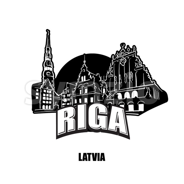 Riga, Lativa, black and white logo for high quality prints. Hand drawn vector sketch.