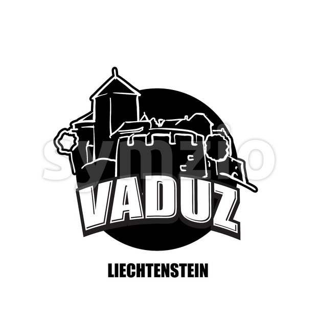 Vaduz, Liechtenstein, black and white logo Stock Vector