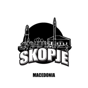 Skopje, Macedonia, black and white logo Stock Vector
