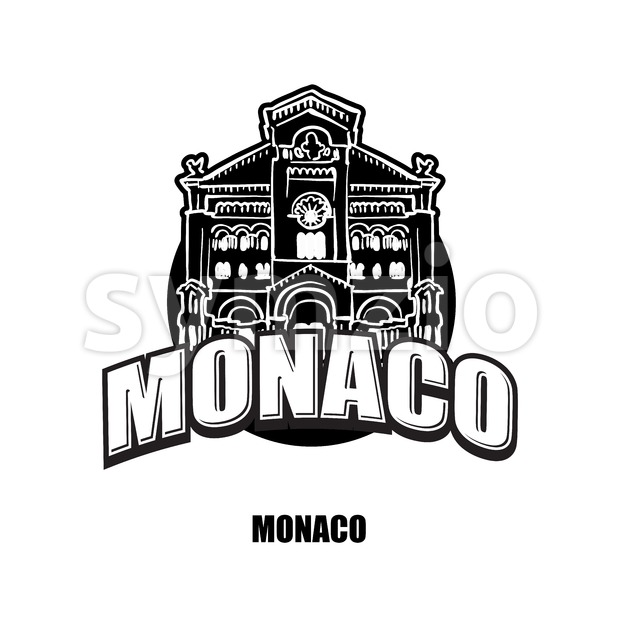 Monaco black and white logo Stock Vector